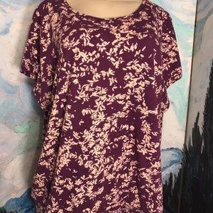 Lane Bryant 1X Purple Print Cotton Tunic Top